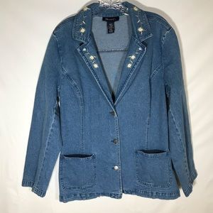 Denim & Co jean jacket with. Embroidered collar